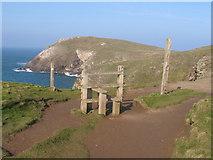 SW8576 : Stile near Dinas Head by David Hawgood