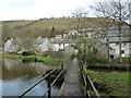 SK1573 : Footbridge across the River Wye near Litton Mill by Andrew Hill
