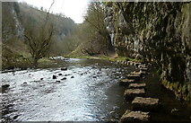 SK1272 : Chee Dale stepping stones, looking upstream by Andrew Hill