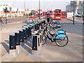 TQ2380 : Boris bikes at Westfield, NW docking station by David Hawgood