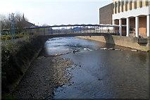 SS7690 : Footbridge across the River Afan, Port Talbot by Jaggery