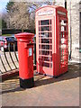 TM4462 : Telephone Box & Main Road Postbox by Adrian Cable