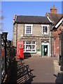 TM4462 : Leiston Public Library & Main Street Postbox by Adrian Cable