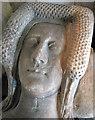TL4538 : Chrishall: Holy Trinity - head of recumbent effigy by John Sutton