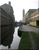 SE1438 : Saltaire: Salt's Mill reflected by John Sutton