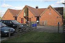 SP4476 : Car park entrance at rear of rebuilt village hall by Robin Stott