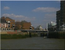 TQ3680 : Entrance to Limehouse Basin, from the Thames by Christopher Hilton