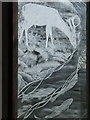 SZ3299 : Boldre: detail of deer and fish in engraved window by Chris Downer