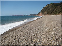 SY1687 : Shingle beach at Weston Mouth by Philip Halling