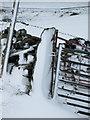 SD8073 : Snow plastered gatepost by John S Turner