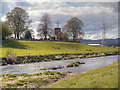 SD7733 : River Calder, St James' Church Altham by David Dixon