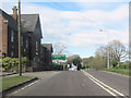 SJ5668 : Abbey Arms crossroads from A556 west by John Firth