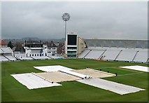 SK5838 : Trent Bridge Cricket Ground: rolling up the covers by John Sutton