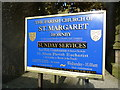 SD5868 : The Parish Church of St Margaret, Hornby, Name board by Alexander P Kapp