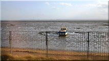 TQ8485 : Boat grounded, Leigh Sands by N Chadwick