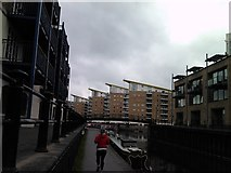 TQ3680 : Flats on Limehouse Basin, viewed from the Limehouse Cut by Robert Lamb