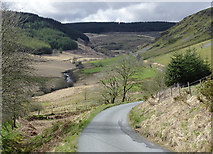 SN8056 : Mountain road and Cwm Tywi, Powys by Roger  Kidd