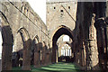 NX9666 : Sweetheart Abbey: looking east along the nave by Christopher Hilton