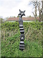 NY3866 : Cycle route marker near Sandysike Brickworks by Ian S