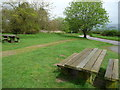 SO3383 : Picnic tables at Bury Ditches car park by Jeremy Bolwell