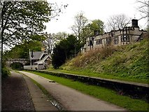 SK1971 : Disused station and Thornbridge Hall on the Monsal Trail by Norman Caesar