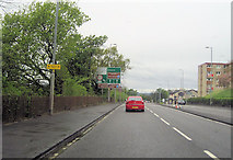 NS4274 : A82 approaching road junction at Dumbuck by John Firth