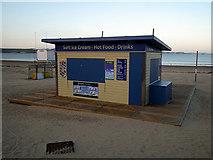 SY6879 : Closed food kiosk on Weymouth beach by John Lucas