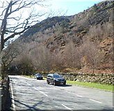 SH5946 : A view south from the A498 in the Pass of Aberglaslyn by Jaggery