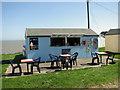 TM3135 : Clifftop café and ice cream kiosk, Old Felixstowe by Evelyn Simak
