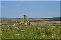SK2775 : Ancient cross or guide post on Big Moor by Neil Theasby