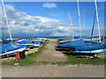 TQ6502 : Boats at Pevensey Bay Sailing Club by Chris Heaton