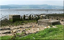 NS4074 : Industrial relics at Dumbarton foreshore by Lairich Rig