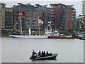 TQ3480 : Police security on the Thames near Butler's Wharf by Richard Humphrey
