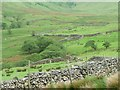 NY4216 : Drystone wall built up with wire fencing by Christine Johnstone