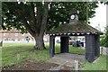 SU5886 : Bunting round the bus shelter by Bill Nicholls