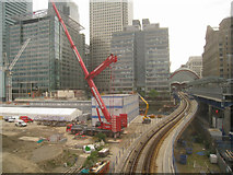 TQ3780 : DLR approach to Canary Wharf by Sandy B
