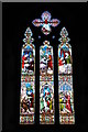 SP0849 : Stained glass window, Cleeve Prior church by Philip Halling
