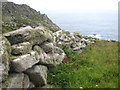 SW4137 : Ancient stone field boundary above Halldrine Cove by Rod Allday