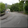 SO0700 : Weak bridge across the River Taff, Aberfan by Jaggery
