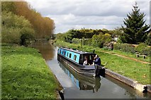 SU6168 : A narrowboat on the Kennet and Avon Canal by Steve Daniels