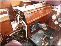 SO8554 : Worcester & Birmingham Canal, engine of steam launch Sans Son by Chris Allen