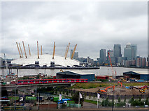 TQ3980 : DLR and O2 Centre from Cable Car across The Thames by Christine Matthews
