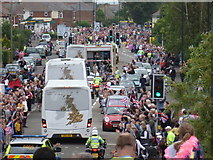 SZ0894 : Ensbury Park: the Olympic torch relay from behind by Chris Downer