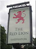 TQ0866 : The Red Lion sign by Oast House Archive