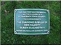 SJ7661 : Queen Elizabeth's tree - plaque by Stephen Craven