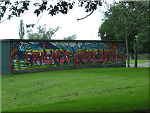 NT2273 : Graffiti in Roseburn Park by Thomas Nugent