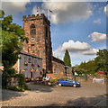SJ6386 : The Parr Arms and St Wilfrid's Church, Grappenhall by David Dixon