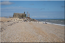 TR0417 : Lookout at beach by Lydd Ranges by Oast House Archive