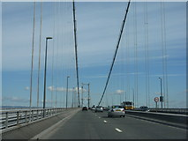 NT1279 : Heading north on the Forth Road Bridge by M J Richardson