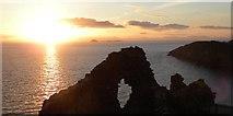 NG4074 : Sunset at Duntulm by Gordon Hatton